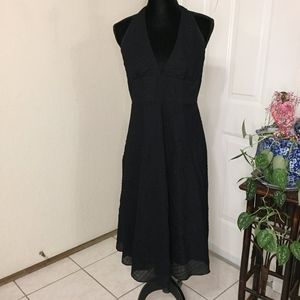J.Crew Black A-line Cotton Seersucker Halter Dress